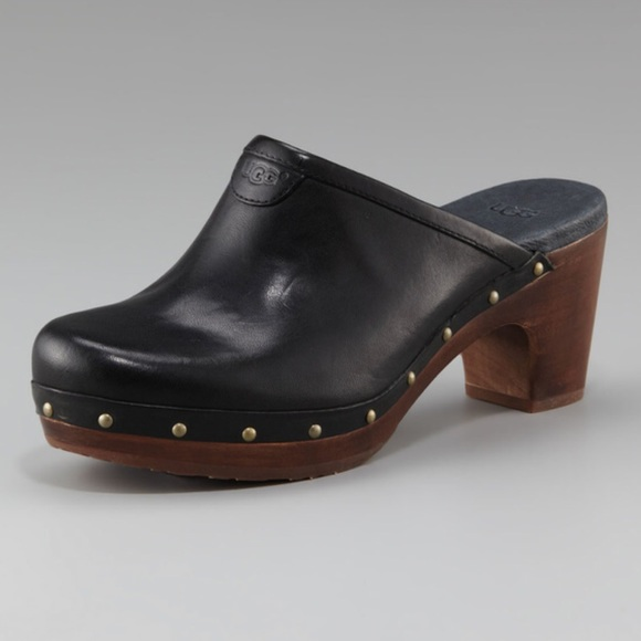 Ugg Black Studded Leather Abbie Mules